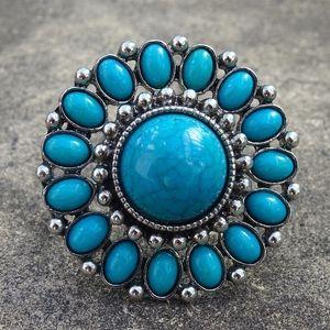Big Turquoise Jewel Flower Statement Ring Size 6.5